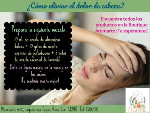 Tip Aromarte. Elimina el dolor de cabeza.
